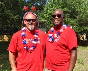 two men in 4th of july decorations
